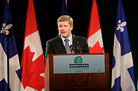 Le premier ministre canadien Stephen Harper a la conference Americana le 21 mars 2007<br /> <br /> <br /> - Agence Quebec Presse