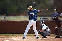 Broadus Roberson (39) of the Queens Royals at bat against the Catawba Indians during game one of a double-header at Tuckaseegee Dream Fields on March 26, 2021 in Kannapolis, North Carolina. (Brian Westerholt/Four Seam Images)