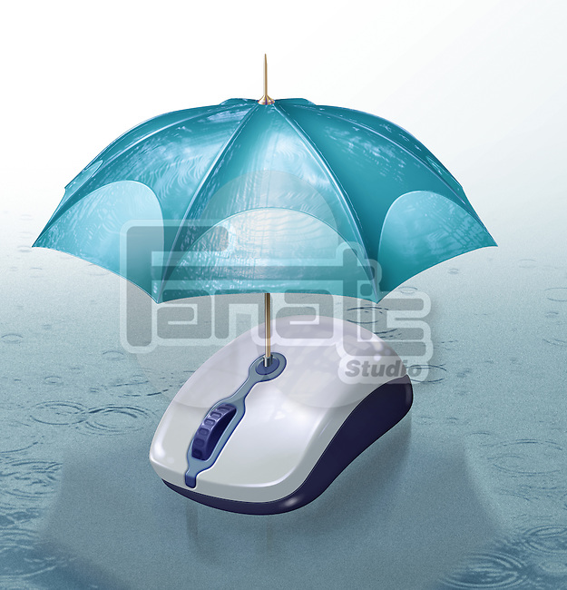 Illustrative image of umbrella covering computer mouse representing online insurance