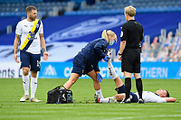 Cameron Brannagan of Oxford United gets treated for cramp during Portsmouth vs Oxford United, Sky Bet EFL League 1 Play-Off Semi-Final Football at Fratton Park on 3rd July 2020