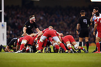 Kieran Read checks referee Pascal Gauzere's decision during the Rugby World Cup 2015 rugby union match between New Zealand and Georgia at the Millennium Stadium, Wales on 2 October 2015. No unauthorized download. Photo: Dean Woodgate / rainywoodphotography.co.uk