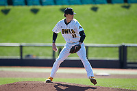 Kennesaw State Owls relief pitcher Bowen Bock (32) in action against the Western Carolina Catamounts at Springs Brooks Stadium on February 22, 2020 in Conway, South Carolina. The Owls defeated the Catamounts 12-0.  (Brian Westerholt/Four Seam Images)
