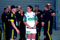 Operations manager Johnny Schmitt talks to assistant referee Bex Mahoney before the Super Rugby match between the Hurricanes and Sharks at Sky Stadium in Wellington, New Zealand on Saturday, 15 February 2020. Photo: Dave Lintott / lintottphoto.co.nz