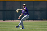 Colorado Rockies left fielder Daniel Jipping (45) during an Extended Spring Training game against the Chicago Cubs at Sloan Park on April 17, 2018 in Mesa, Arizona. (Zachary Lucy/Four Seam Images)