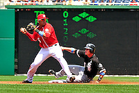 20 June 2010: Washington Nationals' shortstop Ian Desmond in action against the Chicago White Sox at Nationals Park in Washington, DC. The Nationals were swept by the White Sox falling 6-3 in the last game of their 3-game interleague series. Mandatory Credit: Ed Wolfstein Photo