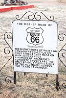 Sign marking the end of Old Route 66 at Dot's Mini Museum located at the end of old Route 66 in Vega Texas.