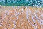 Virgin Gorda, British Virgin Islands, Caribbean <br /> Detail of surf and sand patterns of Savannah beach