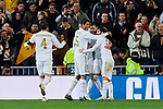 Players of Real Madrid celebrate goal during UEFA Champions League match between Real Madrid and Paris Saint-Germain FC at Santiago Bernabeu Stadium in Madrid, Spain. November 26, 2019. (ALTERPHOTOS/A. Perez Meca)