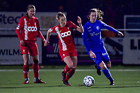 Charlotte Cranshoff (18) of Standard and Hanne Merkelbach (25) of KRC Genk pictured during a female soccer game between  Racing Genk Ladies and Standard Femina on the 13 th matchday of the 2020 - 2021 season of Belgian Scooore Womens Super League , friday 5 th of february 2021  in Genk , Belgium . PHOTO SPORTPIX.BE | SPP | STIJN AUDOOREN