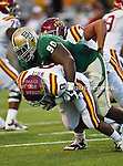 Baylor Bears nose tackle Nicolas Jean-Baptiste (90) and Iowa State Cyclones running back James White (8) in action during the game between the Iowa State Cyclones and the Baylor Bears at the Floyd Casey Stadium in Waco, Texas. Baylor defeats Iowa State 49 to 26.