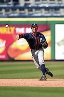 Cal State Fullerton Titans infielder Timmy Richards (13) throws to first during a game against the Louisville Cardinals on February 15, 2015 at Bright House Field in Clearwater, Florida.  Cal State Fullerton defeated Louisville 8-6.  (Mike Janes/Four Seam Images)
