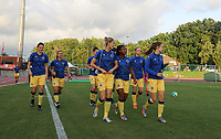 players of Club Brugge with Frieke Temmerman (17) of Club Brugge  Jody Vangheluwe (22) of Club Brugge   Marith Decabooter (12) of Club Brugge  Esther Buabadi (24) of Club Brugge  Ludmila Matavkova (9) of Club Brugge pictured entering the pitch for the warming up during a female soccer game between FC Femina White Star Woluwe and Club Brugge YLA on the second matchday in the 2021 - 2022 season of Belgian Scooore Womens Super League , Friday 27 th of August 2021  in Woluwe , Belgium . PHOTO SPORTPIX | SEVIL OKTEM