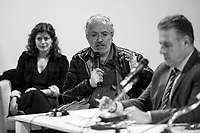 """(From L to R) Nappi, Bongiovanni, Di Matteo.<br /> <br /> Rome, 08/02/19. Moby Dick Library in Garbatella & Antimafia Duemila(2.) held the presentation of the book """"Il Patto Sporco"""" (The Dirty Pact. The Trial State-mafia in the Story [narrated] by his Protagonist, Chiarelettere,1.) hosted by the author of the book Saverio Lodato (Journalist & Author), Antonino 'Nino' Di Matteo (Protagonist of the book, Antimafia Magistrate of Palermo, member of the DNA - Antimafia & Antiterrorism National Directorate - who """"prosecuted the Italian State for conspiring with the Mafia in acts of murder & terror"""",3.4.5.6.) & Giorgio Bongiovanni (Editor of Antimafia Duemila). Chair of the event was Silvia Resta (Journalist & Author). Readers were: Bianca Nappi & Carlotta Natoli (both Actresses). From the back cover of the book: """"Let us ask ourselves why politics, institutions, culture, have needed the words of judges to finally begin to understand…A handful of magistrates and investigators have shown not to be afraid to prosecute the [Italian] State. Now others must do their part too"""" (Nino Di Matteo). """"In the pages of this book I wanted the magistrate, the man, the protagonist and the witness to speak about a trial destined to leave its mark"""" (Saverio Lodato). From the book online page: """"The attacks to Lima [politician], Falcone & Borsellino [Judges], the bombs in Milan, Florence, Rome, the murders of valiant police commissioners & officers of the carabinieri. The [Ita] State on its knees, its best men sacrificed. However, while the blood of the massacres was still running there were those who, precisely in the name of the State, dialogued and interacted with the enemy. The sentence of condemnation of Palermo [""""mafia-State negotiation"""" trial which is told in the book], against the opinion of many 'deniers', proved that the negotiation not only was there but did not avoid more blood. On the contrary, it provoked it""""(1.).<br /> Footnotes & links provided at 2nd & last page."""