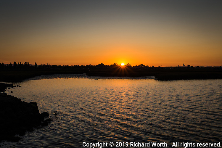 Sunset at the Martin Luther King Jr. Regional Shoreline ahead of the full moon rising on the opposite shore.  The San Leandro Bay glows with the sunset light.