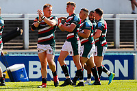 5th June 2021; Mattioli Woods Welford Road Stadium, Leicester, Midlands, England; Gallagher Premiership Rugby, Leicester Tigers versus Bristol Bears; Leicester Tigers players applaud the home supporters after the final whistle