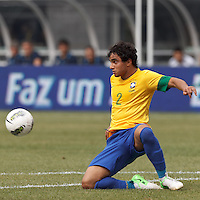 Brazil defender Rafael Silva (2) struggles to disrupt incoming pass. In an international friendly (Clash of Titans), Argentina defeated Brazil, 4-3, at MetLife Stadium on June 9, 2012.
