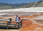Visitors congregate at a favorite overlook at Main Terrace, Mammoth Hot Springs Terraces, Yellowstone National Park.  Yellowstone National Park, the first National Park in the world, still enthrals over three million visitors a year with it's geothermal features,wildlife,  rugged mountains, deep canyons and stunning ecosystem.