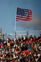 A US flag flies over the stadium. The United States (USA) defeated Uruguay (URU) 2-1 in overtime during a FIFA U-20 World Cup round of 16 match at the National Soccer Stadium at Exhibition Place, Toronto, Ontario, Canada, on July 11, 2007.