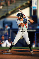 New Britain Rock Cats outfielder Mike Tauchman (18) at bat during a game against the Reading Fightin Phils on August 7, 2015 at FirstEnergy Stadium in Reading, Pennsylvania.  Reading defeated New Britain 4-3 in ten innings.  (Mike Janes/Four Seam Images)