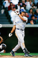 Carlos Beltran of the Kansas City Royals during a game against the Anaheim Angels at Angel Stadium circa 1999 in Anaheim, California. (Larry Goren/Four Seam Images)