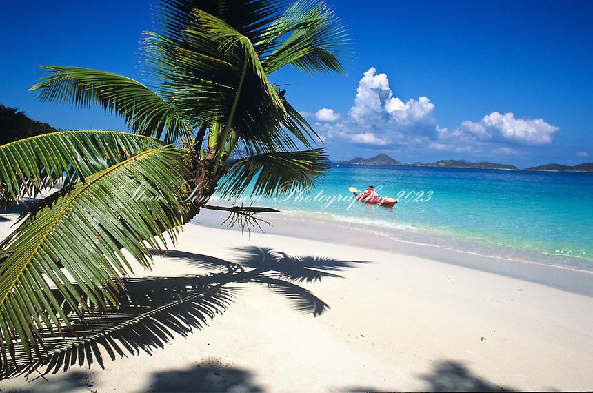 Kayaker at Salomon Beach.St. John, US Virgin Islands