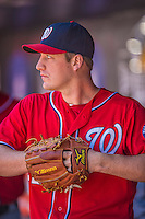 21 April 2013: Washington Nationals starting pitcher Jordan Zimmermann stands in the dugout during a game against the New York Mets at Citi Field in Flushing, NY. The Mets shut out the visiting Nationals 2-0, taking the rubber match of their 3-game weekend series. Mandatory Credit: Ed Wolfstein Photo *** RAW (NEF) Image File Available ***