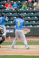 Jeimer Candelario (9) of the Myrtle Beach Pelicans at bat against the Winston-Salem Dash at BB&T Ballpark on May 10, 2015 in Winston-Salem, North Carolina.  The Pelicans defeated the Dash 4-3.  (Brian Westerholt/Four Seam Images)