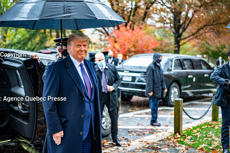 President Donald J. Trump arrives at Arlington National Cemetery, Arlington, Virginia, November 11, 2020. President Trump came to ANC, along with Vice President MIke Pence, to participate in a Presidential Armed Forces Full Honor Wreath-Laying Ceremony at the Tomb of the Unknown Soldier as part of the nation's 67th Veterans Day Observance. (U.S. Army photo by Elizabeth Fraser / Arlington National Cemetery / released)