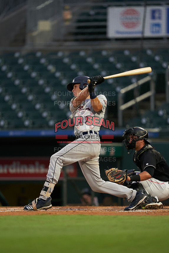 Lakeland Flying Tigers Ulrich Bojarski (10) at bat during a Florida State League game against the Jupiter Hammerheads on August 12, 2019 at Roger Dean Chevrolet Stadium in Jupiter, Florida.  Jupiter defeated Lakeland 9-3.  (Mike Janes/Four Seam Images)
