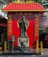 Bangkok, Thailand.  Shrine to Confucius outside a School for Chinese Thai Students.