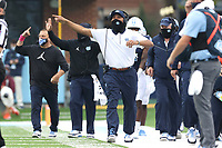 CHAPEL HILL, NC - OCTOBER 10: North Carolina Wide Receivers Coach Lonnie Galloway yells instructions during a game between Virginia Tech and North Carolina at Kenan Memorial Stadium on October 10, 2020 in Chapel Hill, North Carolina.