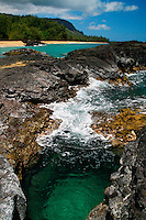 A clear tidepool at Lumahai Beach on Kauai's north shore, Hawaii.