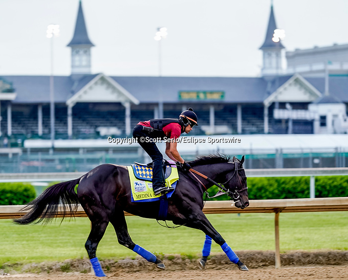 April 28, 2021: Medina Spirit, trained by trainer Bob Baffert, exercises in preparation for the Kentucky Derby at Churchill Downs on April 29, 2021 in Louisville, Kentucky. Scott Serio/Eclipse Sportswire/CSM