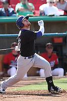 Dusty Robinson #15 of the Stockton Ports bats against the High Desert Mavericks at Stater Bros. Stadium on May 27, 2012 in Adelanto,California. High Desert defeated Stockton 6-5.(Larry Goren/Four Seam Images)