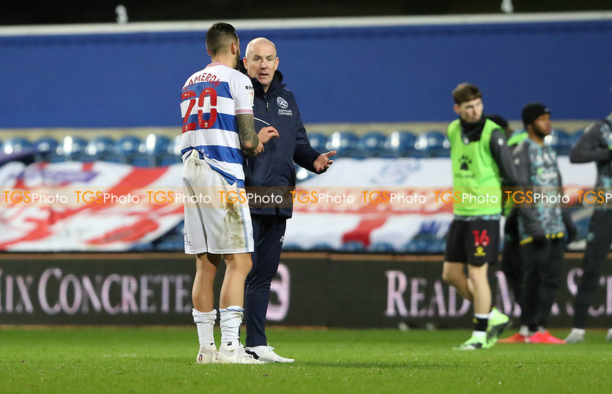 Geoff Cameron of Queens Park Rangers speaks with Mark Warburton manager of Queens Park Rangers after the match during Queens Park Rangers vs Watford, Sky Bet EFL Championship Football at The Kiyan Prince Foundation Stadium on 21st November 2020