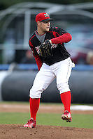 Batavia Muckdogs pitcher Andy Moss (33) during game three of the NYPL Semifinals vs. the Tri-City Valleycats at Dwyer Stadium in Batavia, New York September 9, 2010.   Tri-City defeated Batavia 1-0.  Photo By Mike Janes/Four Seam Images