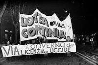 """- Milan, demonstration of the leftist organization  ?Lotta Continua? against the law Reale for the public order (January 1976) ..- Milano, manifestazione dell'organizzazione di sinistra """"Lotta Continua"""" contro la Legge Reale per l'ordine pubblico (gennaio 1976)"""