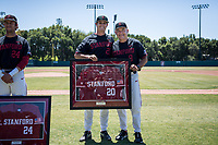 STANFORD, CA - MAY 29: Senior Brendan Beck, David Esquer before a game between Oregon State University and Stanford Baseball at Sunken Diamond on May 29, 2021 in Stanford, California.
