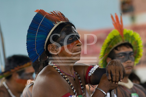 """Altamira, Brazil. """"Xingu Vivo Para Sempre"""" protest meeting about the proposed Belo Monte hydroeletric dam and other dams on the Xingu river and its tributaries. Tinini, Yudja Elder from Xingu Indigenous Park."""