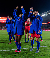 CARSON, CA - FEBRUARY 7: Crystal Dunn #19 and Julie Ertz #8 of the United States celebrate during a game between Mexico and USWNT at Dignity Health Sports Park on February 7, 2020 in Carson, California.