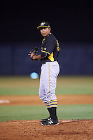Bradenton Marauders relief pitcher Miguel Rosario (38) gets ready to deliver a pitch during a game against the Tampa Yankees on April 11, 2016 at George M. Steinbrenner Field in Tampa, Florida.  Tampa defeated Bradenton 5-2.  (Mike Janes/Four Seam Images)