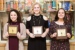 March 6, 2017- Tuscola, IL- The 2016-2107 Tuscola Warriorettes award recipients. From left are Carli Stone (Most Spirit), Cassie Westjohn (Most Creative), and Lauren Farley (Most Improved). [Not Pictured: Olivia Chester (Most Outstanding).] [Photo: Douglas Cottle]