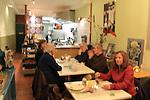 Beth having dinner at Vlam in de Pan Restaurant, Haarlem, Netherlands