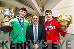 Daire Kennelly captain Pat Fleming (Deputy Principal of Mercy Mounthawk) and Steven Bowler MVP of the Mercy Mounthawk basketball team celebrate winning the U-19 All Ireland Basketball final at the school on Wednesday.