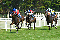 Winner of The AJN Steelstock Sovereign Stakes  Regal Reality ridden by Richard Kingscote (blue cap) and trained by Sir Michael Stoute during Horse Racing at Salisbury Racecourse on 9th August 2020