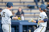 Michigan Wolverines first baseman Jordan Brewer (22) is greeted by teammate Jimmy Kerr (15) after scoring against the Western Michigan Broncos on March 18, 2019 in the NCAA baseball game at Ray Fisher Stadium in Ann Arbor, Michigan. Michigan defeated Western Michigan 12-5. (Andrew Woolley/Four Seam Images)