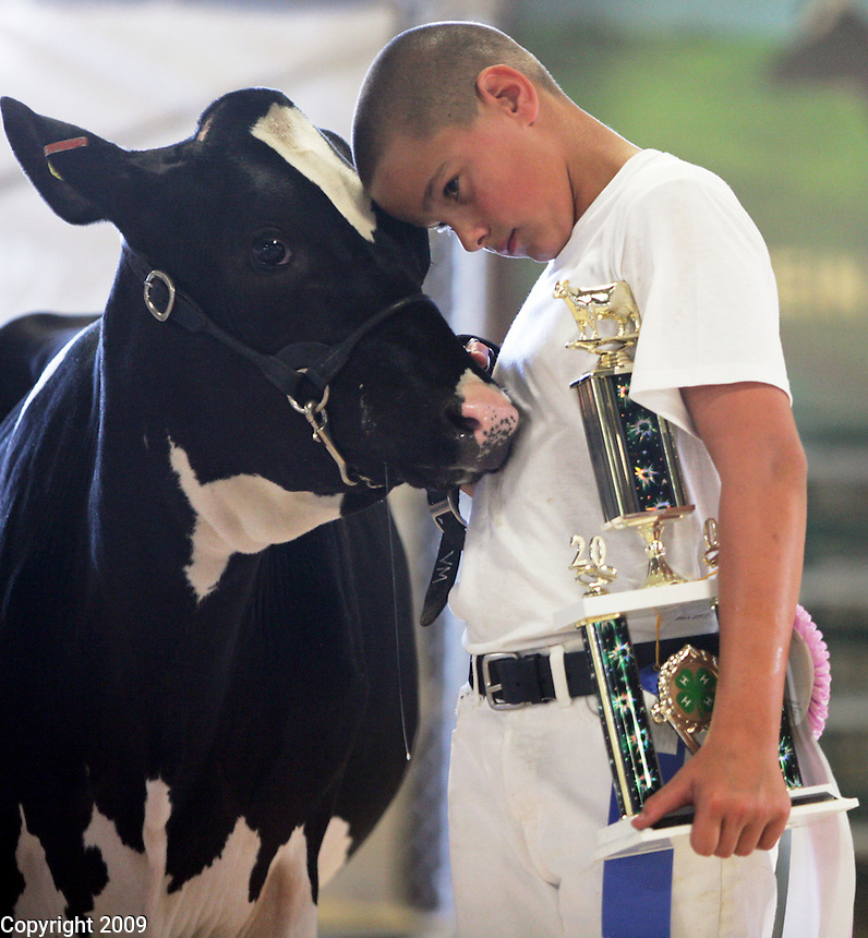 Kyle, 11, Tiemersa, won second place and his twin brother, Kody, right, won 1st, in the junior fitting and showing category at the NW Washington Fair. August 18, 2009 PHOTOS BY MERYL SCHENKER ..   ....schenker IMG_0541.JPG