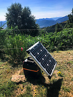 Switzerland. Canton Ticino. Monte Bar. A farmer uses a solar panel to charge a battery and power electricity to metal wires in order to prevent cows from getting out of fields. Monte Bar is a mountain located north of Lugano. It lies on the range west of the Gazzirola, between the Val d'Isone and the Val Colla. 26.08.2018 © 2018 Didier Ruef