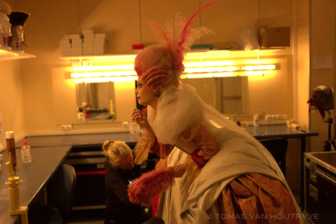 Roxan Le Texier applies makeup in preparation for her role as Marie-Antoinette behind the scenes, backstage at the musical, 1789 Les Amants de la Bastille, in Paris, France on November 8, 2012.