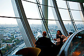 Moscow, Russia<br /> September 17, 2009<br /> <br /> A view of the 5-star Swissotel Krasnye Holmy Hotel's City Space Bar & Lounge is a 360 degree panoramic cocktail bar on the top - 34th floor of the hotel.